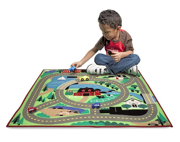 Integers can be learned using a town carpet and a toy car.