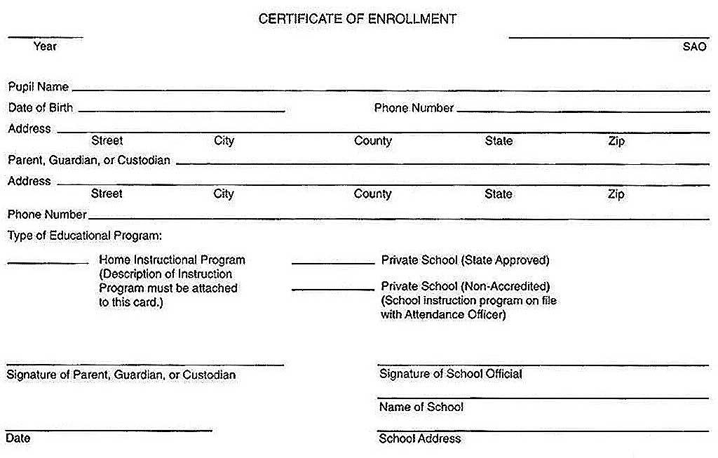Mississippi Certificate of Enrollment in a Homeschool – Enrollment Form