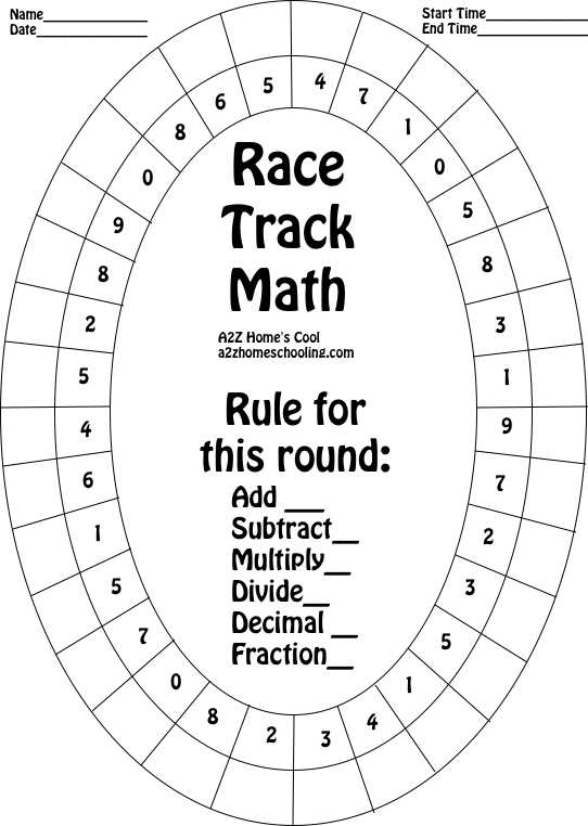Race Track Math Board Worksheet for Practicing Math Facts – Math Facts Printable Worksheets